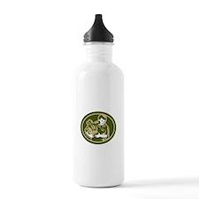 Organic Farmer Crop Harvest Woodcut Water Bottle