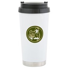 Organic Farmer Crop Harvest Woodcut Travel Mug