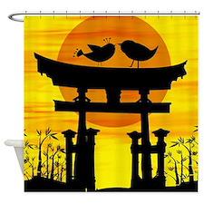 Oriental inspired love birds at sunset Shower Curt