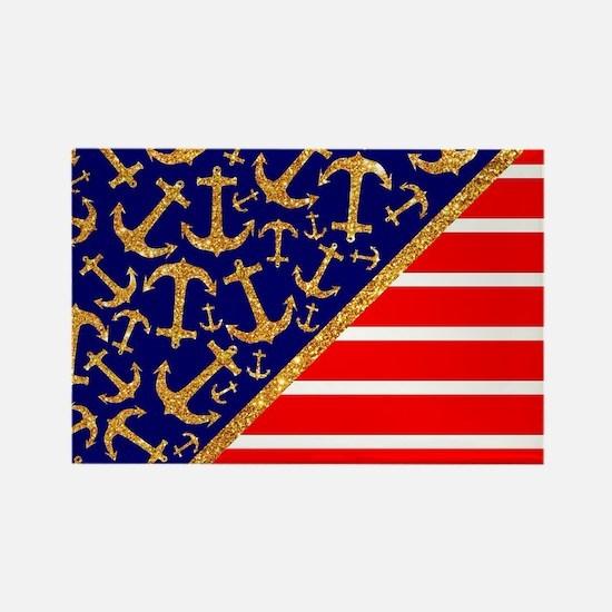 Gold Glitter Anchors on Blue Naut Rectangle Magnet