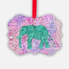 Teal Tribal Paisley Elephant Purp Ornament