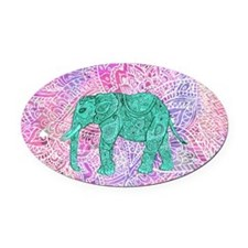 Teal Tribal Paisley Elephant Purpl Oval Car Magnet