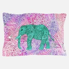 Teal Tribal Paisley Elephant Purple He Pillow Case
