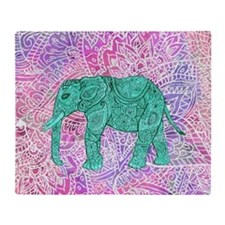 Teal Tribal Paisley Elephant Purple  Throw Blanket