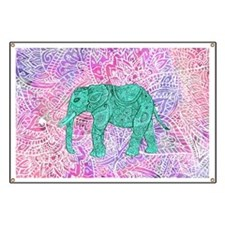 Teal Tribal Paisley Elephant Purple Henna P Banner