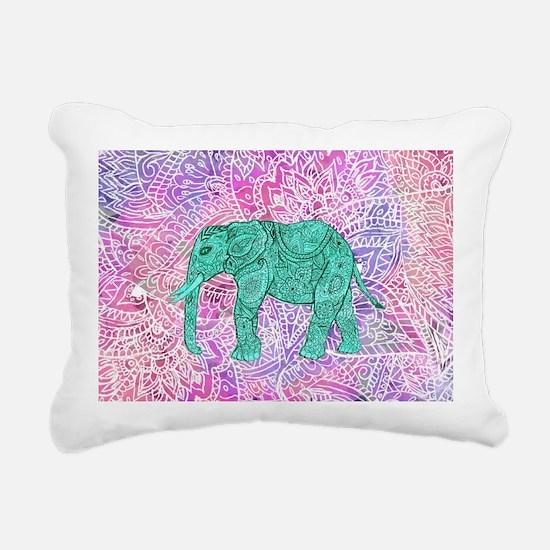 Teal Tribal Paisley Elep Rectangular Canvas Pillow