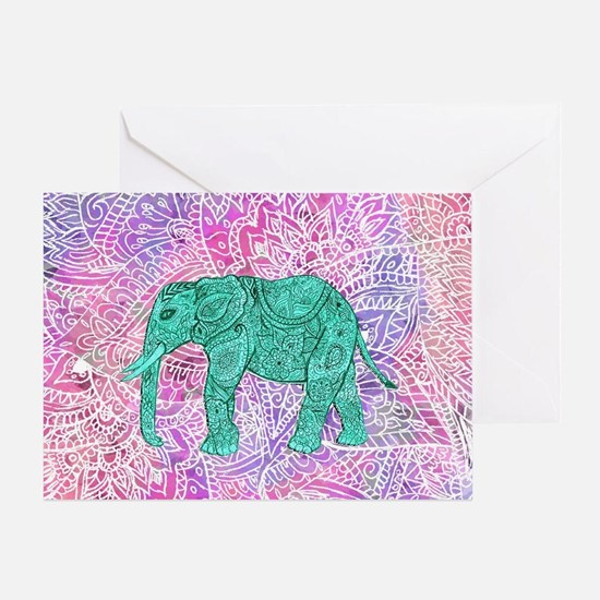 Teal Tribal Paisley Elephant Purple  Greeting Card