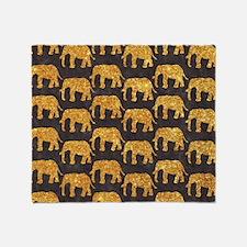 Whimsical Gold Glitter Elephants Pat Throw Blanket