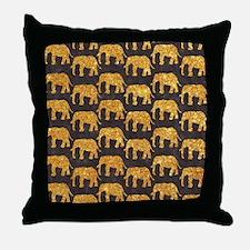 Whimsical Gold Glitter Elephants Patt Throw Pillow