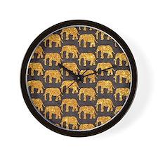 Whimsical Gold Glitter Elephants Patter Wall Clock