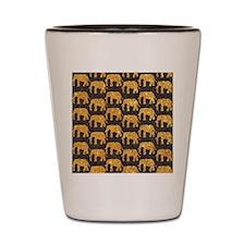 Whimsical Gold Glitter Elephants Patter Shot Glass
