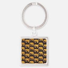 Whimsical Gold Glitter Elephants P Square Keychain