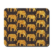 Whimsical Gold Glitter Elephants Pattern Mousepad