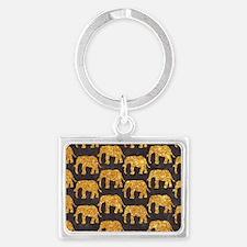Whimsical Gold Glitter Elephant Landscape Keychain