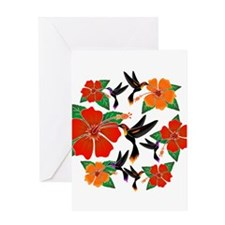 Hummingbird and Hibiscus Greeting Cards