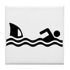 Shark attack swimmer Tile Coaster