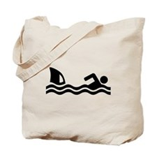 Shark attack swimmer Tote Bag