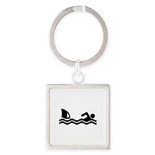 Shark attack swimmer Square Keychain