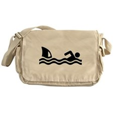 Shark attack swimmer Messenger Bag