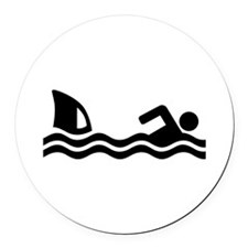 Shark attack swimmer Round Car Magnet