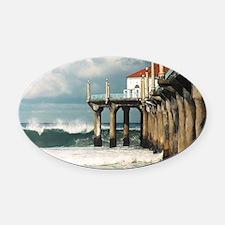 Manhattan Beach Pier  Oval Car Magnet