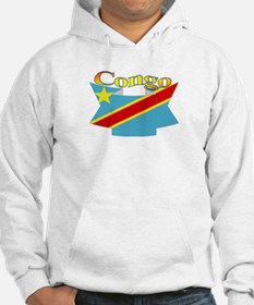 Congolese flag ribbon Hoodie