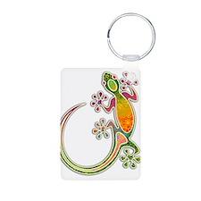 Gecko Floral Tribal Art Keychains