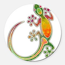 Gecko Floral Tribal Art Round Car Magnet