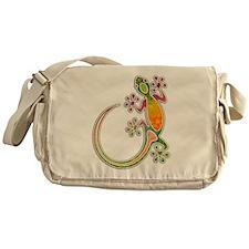 Gecko Floral Tribal Art Messenger Bag