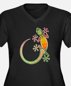 Gecko Floral Tribal Art Plus Size T-Shirt