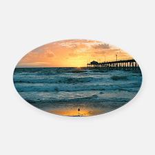 Hermosa Beach Pier Oval Car Magnet