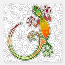 "Gecko Floral Tribal Art Square Car Magnet 3"" x 3"""
