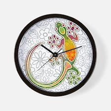 Gecko Floral Tribal Art Wall Clock
