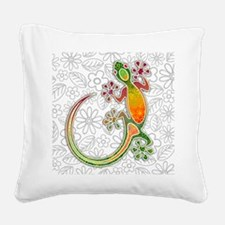 Gecko Floral Tribal Art Square Canvas Pillow