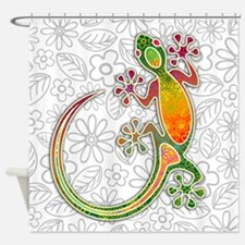 Gecko Floral Tribal Art Shower Curtain