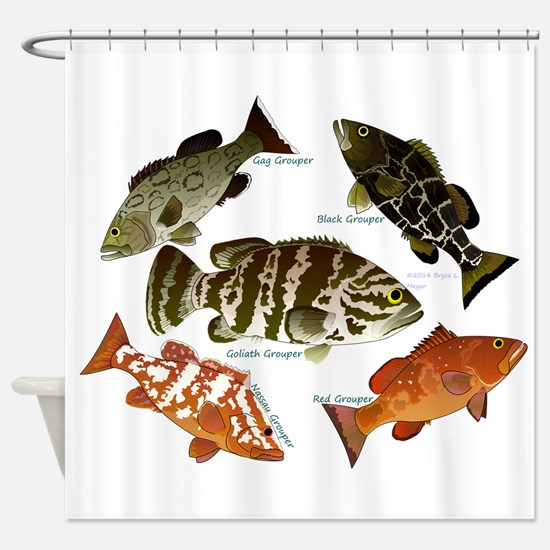 5 Grouper Shower Curtain