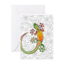 Gecko Floral Tribal Art Greeting Cards