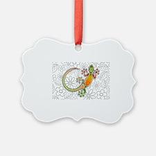 Gecko Floral Tribal Art Ornament