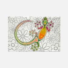 Gecko Floral Tribal Art Magnets