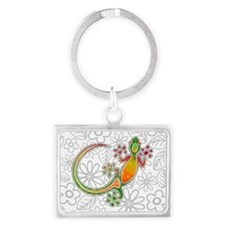 Gecko Floral Tribal Art Keychains