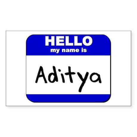 hello my name is aditya Rectangle Sticker