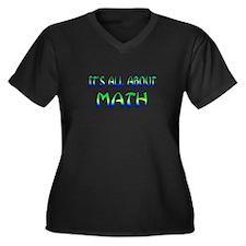 About Math Women's Plus Size V-Neck Dark T-Shirt