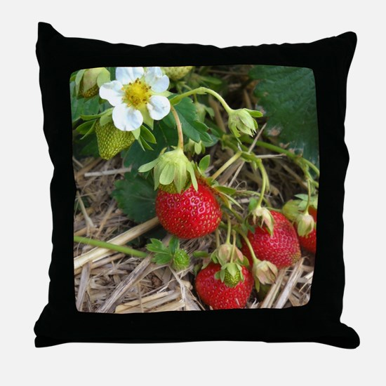 Strawberries in Summer Throw Pillow
