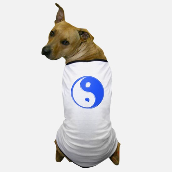 Shiny Blue Yin Yang Symbol Dog T-Shirt