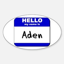 hello my name is aden Oval Decal