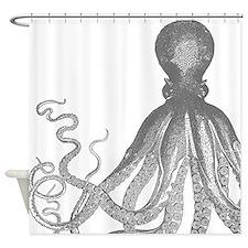 Vintage Octopus Wood Block Print Shower Curtain