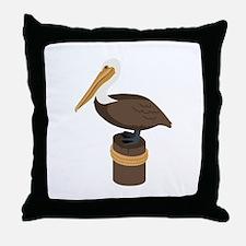 Brown Pelican Throw Pillow