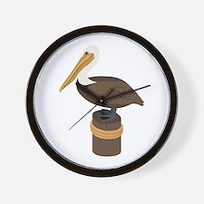 Brown Pelican Wall Clock