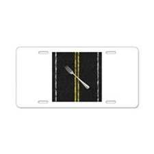 Fork In Road Aluminum License Plate