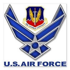 "Air Combat Command Square Car Magnet 3"" x 3"""
